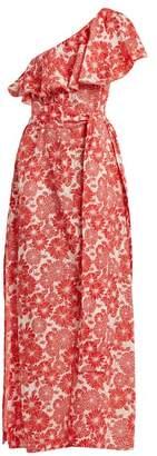 Lisa Marie Fernandez - Arden Floral Print Off Shoulder Dress - Womens - Red Multi