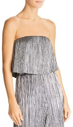 Lucy Paris Bianca Strapless Metallic Cropped Top
