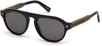0ef499a46b Ermenegildo Zegna Men s Round Plastic Keyhole Sunglasses
