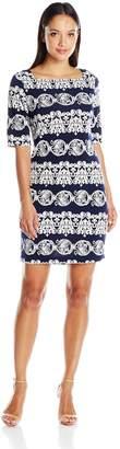 Tiana B Women's Petite 3/4 Sleeve Printed Dress with Exposed Back Zipper, Navy/White, 10P