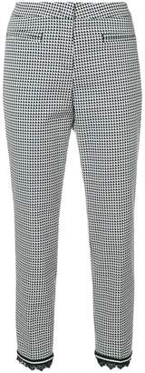 Cambio fringed hem houndstooth trousers