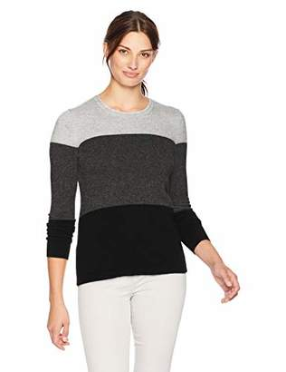 Lark & Ro Women's 100% Cashmere Crewneck Color Blocked Sweater