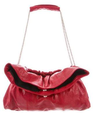 Thakoon Distressed Leather Fold-Over Shoulder Bag
