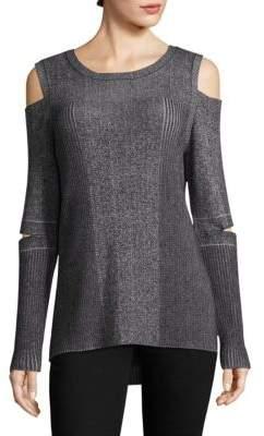 Design History Ribbed Peekaboo-Sleeve Cold-Shoulder Top