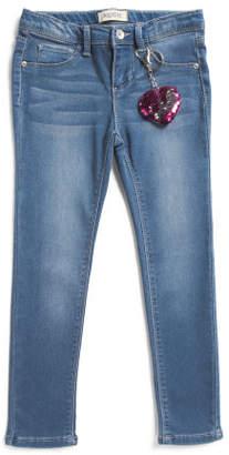 Little Girls Skinny Knit Jean With Heart Key Chain