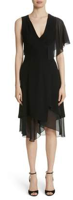 Yigal Azrouel Asymmetrical Ruffle Sleeve Dress