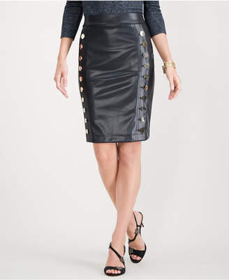 INC International Concepts I.n.c. Faux-Leather Button Pencil Skirt, Created for Macy's