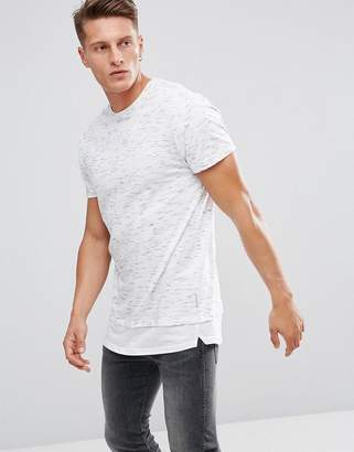 Bellfield Longline T-Shirt In Spacedye With Layered Hem