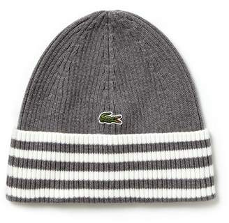 Lacoste Men's Striped Turned Edge Ribbed Cotton Beanie