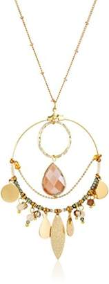 Panacea Stone Hoop Pendant Necklace With Charms