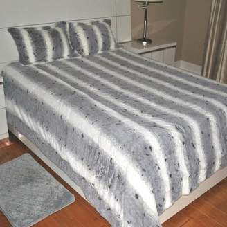 Fashion St. Faux Fur Leopard Print 3-Piece Bedding Blanket Set