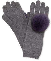 Eugenia Kim Cashmere Knit Gloves w/ Fur Pompoms