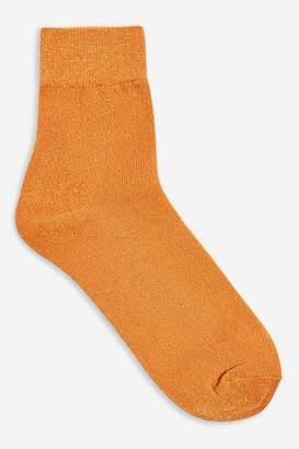 Topshop Mustard Deep Welt Glitter Socks