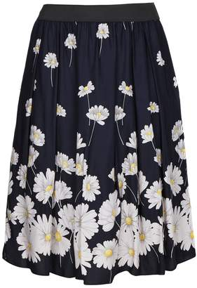 Evans **Scarlett & Jo Navy Blue Daisy Print Full Skirt