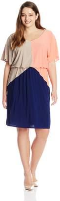 MSK Women's Plus-Size Blouson Short Sleeve Color Block Dress