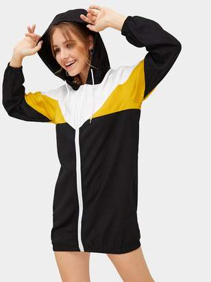 Shein Cut & Sew Zip Up Hoodie Sweatshirt Dress