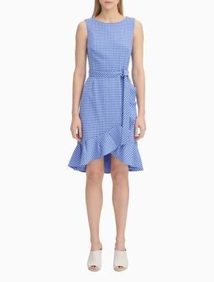 Calvin Klein Gingham Belted Ruffle Dress