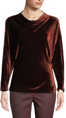 A.L.C. Miller Cowl-Neck Velvet Long-Sleeve Top