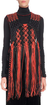 Proenza Schouler Macrame Braided Leather Fringe Pullover Vest