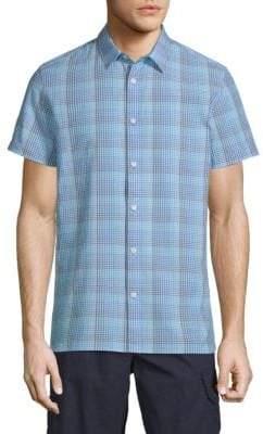 Calvin Klein Plaid Short-Sleeve Button-Down Shirt