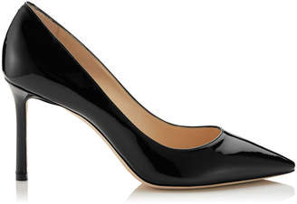 Jimmy Choo ROMY 85 Black Patent Leather Pointy Toe Pumps