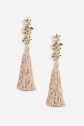 Topshop 3 Flower Tassel Drop Earrings