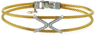 Alor 2-Row Diamond Crisscross Bangle, Gold
