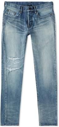 Saint Laurent Damaged Slim Fit Jean