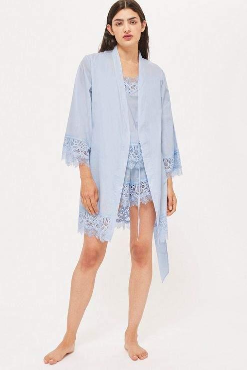 Premium cotton and lace robe