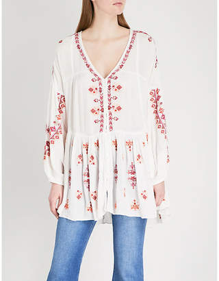 Free People Arianna embroidered woven top