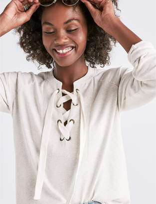 Lucky Brand VINTAGE LACE UP PULLOVER
