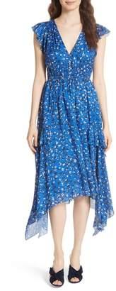 Ulla Johnson Aurelie Floral Shark Bite Hem Cotton & Silk Dress