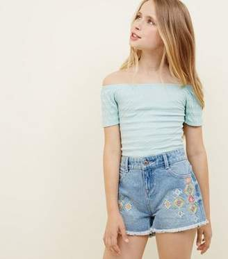 New Look Girls Pale Blue Aztec Embroidered Denim Shorts
