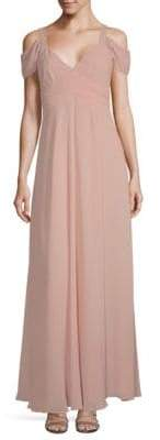 Laundry by Shelli Segal Cold Shoulder Floor-Length Gown