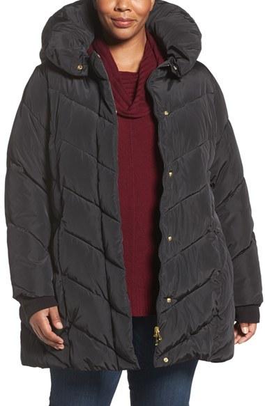 STEVE MADDENPlus Size Women's Steve Madden Hooded Pillow Collar Puffer Jacket