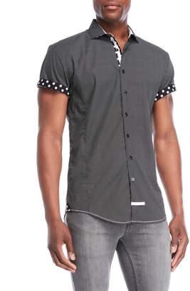 English Laundry Black Polka Dot Sport Shirt
