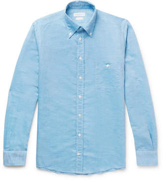 Richard James Button-Down Collar Slub Linen And Cotton-Blend Shirt