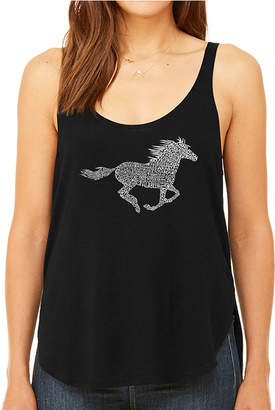 LOS ANGELES POP ART Los Angeles Pop Art Women's Premium Word Art Flowy Tank Top - Horse Breeds