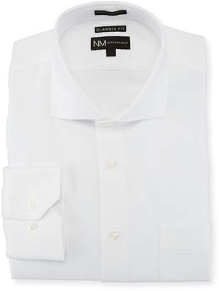 Neiman Marcus Classic-Fit Dobby-Textured Dress Shirt, White