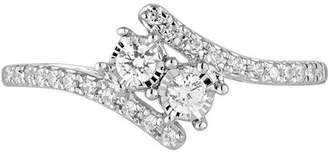 Allure Gems 1/4 Carat T.W. Diamond 10kt White Gold Two-Stone Bypass Ring with Miracle Plate
