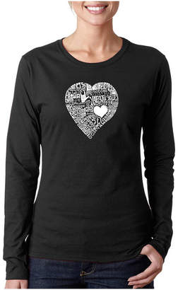 LOS ANGELES POP ART Los Angeles Pop Art Love In 44 Different Languages Long Sleeve Graphic T-Shirt