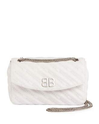 Balenciaga Logo-Quilted Leather Chain Shoulder Bag