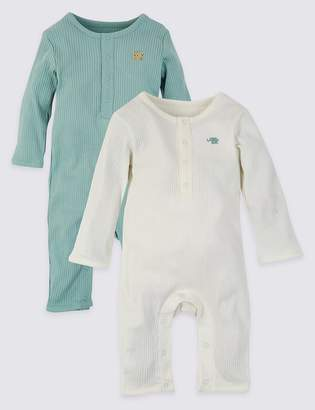 Marks and Spencer 2 Pack Cotton Unisex Sleepsuits