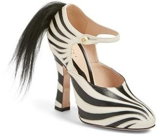 Women's Gucci 'Lesley' Zebra Stripe Pump $1,290 thestylecure.com