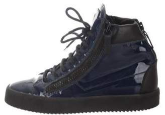 Giuseppe Zanotti Round-Toe High-Top Sneakers navy Round-Toe High-Top Sneakers