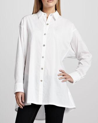 Go Silk Solid Flared Big Shirt, Petite