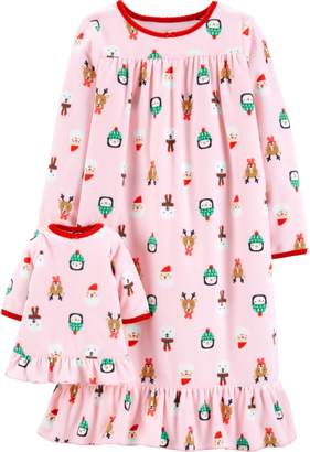 carters toddler girl christmas fleece nightgown matching doll nightgown set