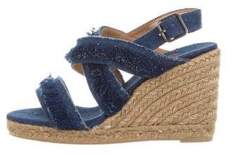 Castaner Frayed Denim Wedges