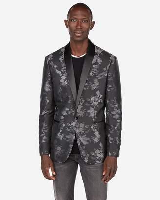 Express Slim Contrast Floral Tuxedo Jacket