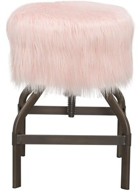 Ace Bayou Adjustable Screw Top Stool, Metal with Faux Pink Fur